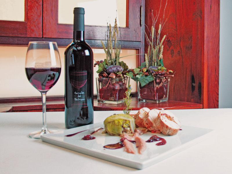 Canales del Palmar tinto joven vs Pechuga rellena de langostinos y verdura, con salsa de vino tinto
