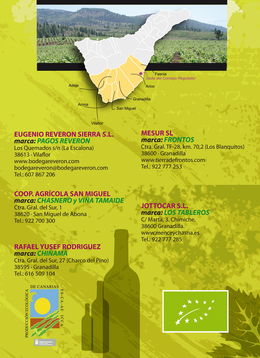 Relación de bodegas y marcas que elaboran vinos ecológicos, cosecha 2015, en la D.O.P. Abona