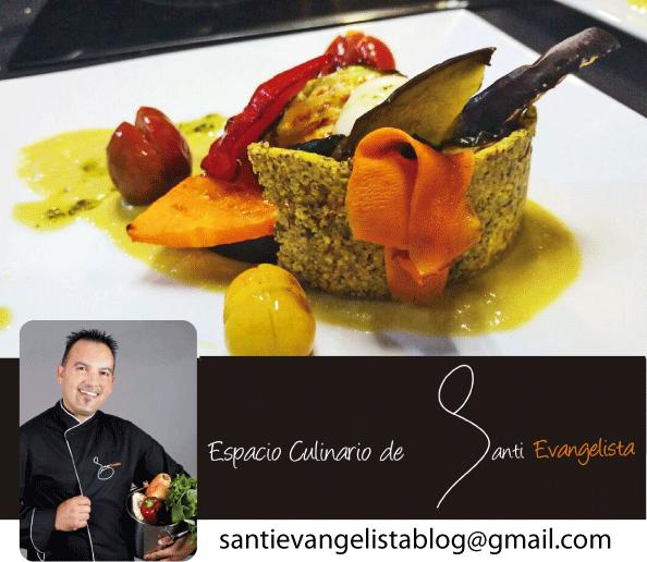 La receta de Santi Evangelista: VERDURAS A LA PARRILLA CON SALSA DE ESPÁRAGOS Y QUESO TIERNO y GALLETA DE PISTACHOS