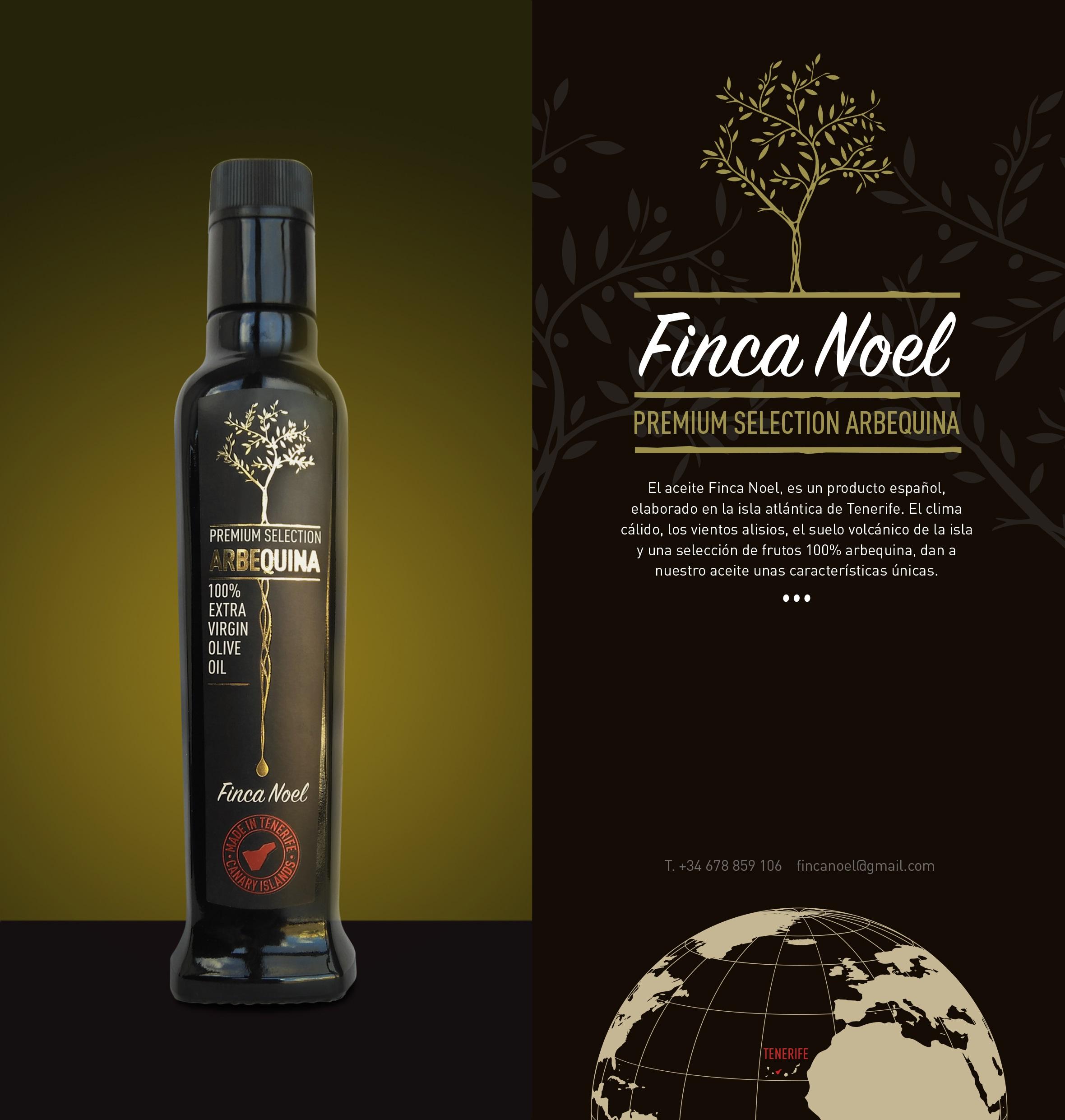 Finca Noel, Aceite de Oliva Virgen Extra Premium Arbequina, una marca ecológica de la isla de Tenerife