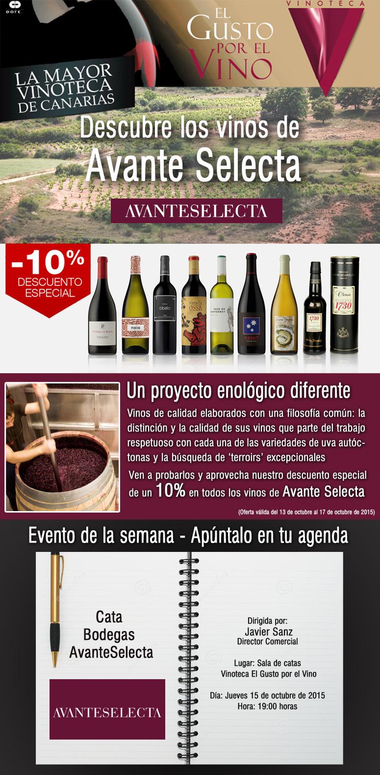 Cata de Avanteselecta en la vinoteca El Gusto por el Vino (15 Octubre)