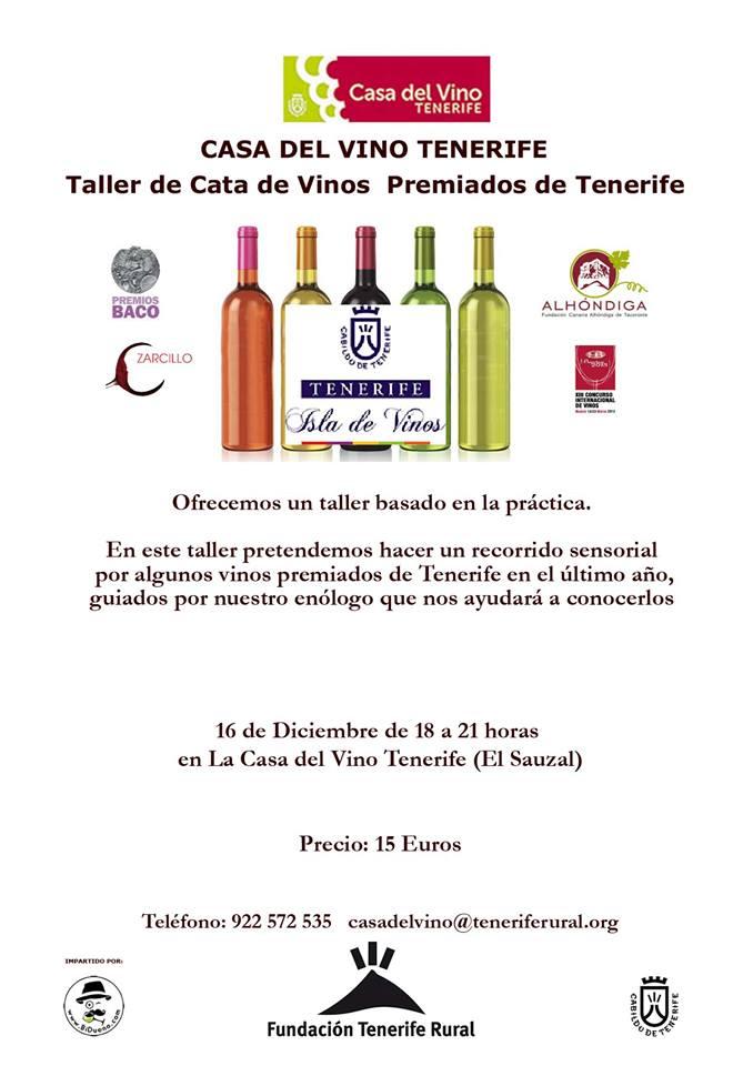Taller de cata de vinos premiados de Tenerife