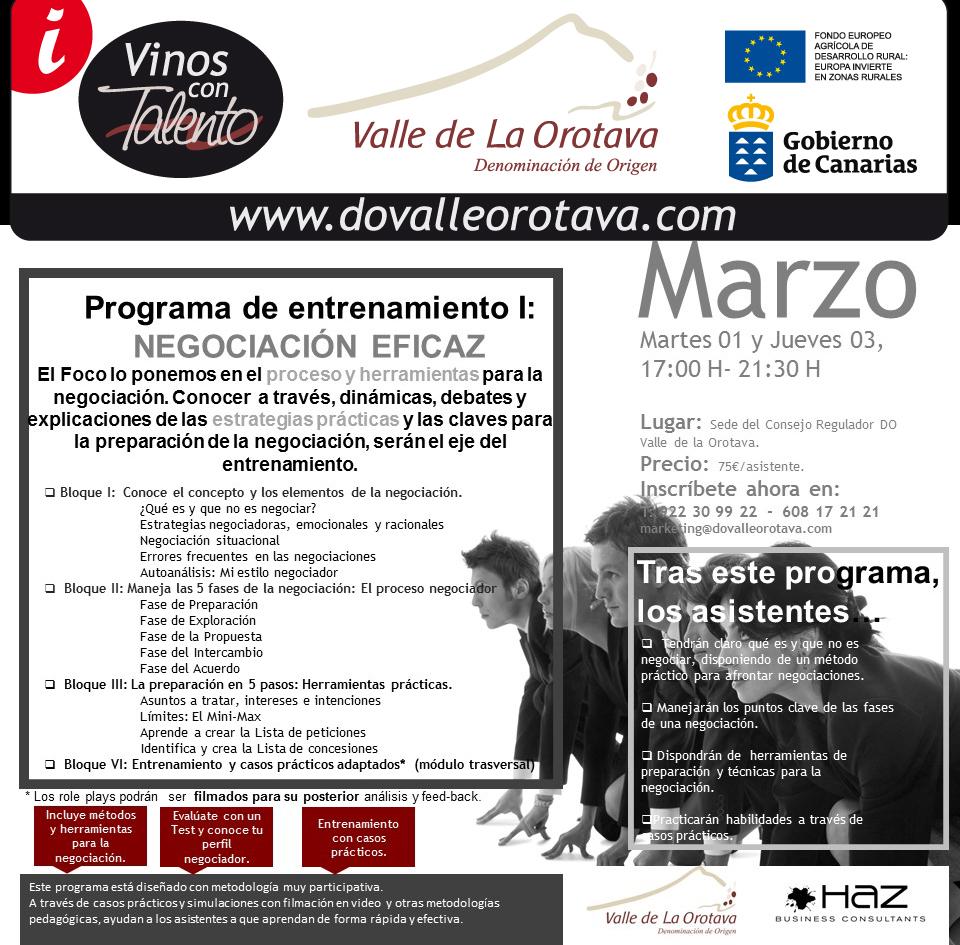 Curso de Estrategias prácticas y claves para la preparación de la negociación con éxito. C.R.D.O. Valle de La Orotava