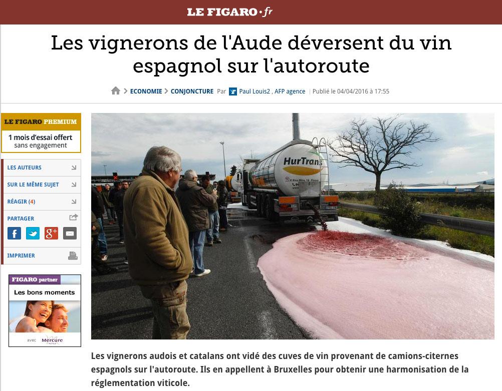 Viticultores franceses vierten vino a granel español en las carreteras