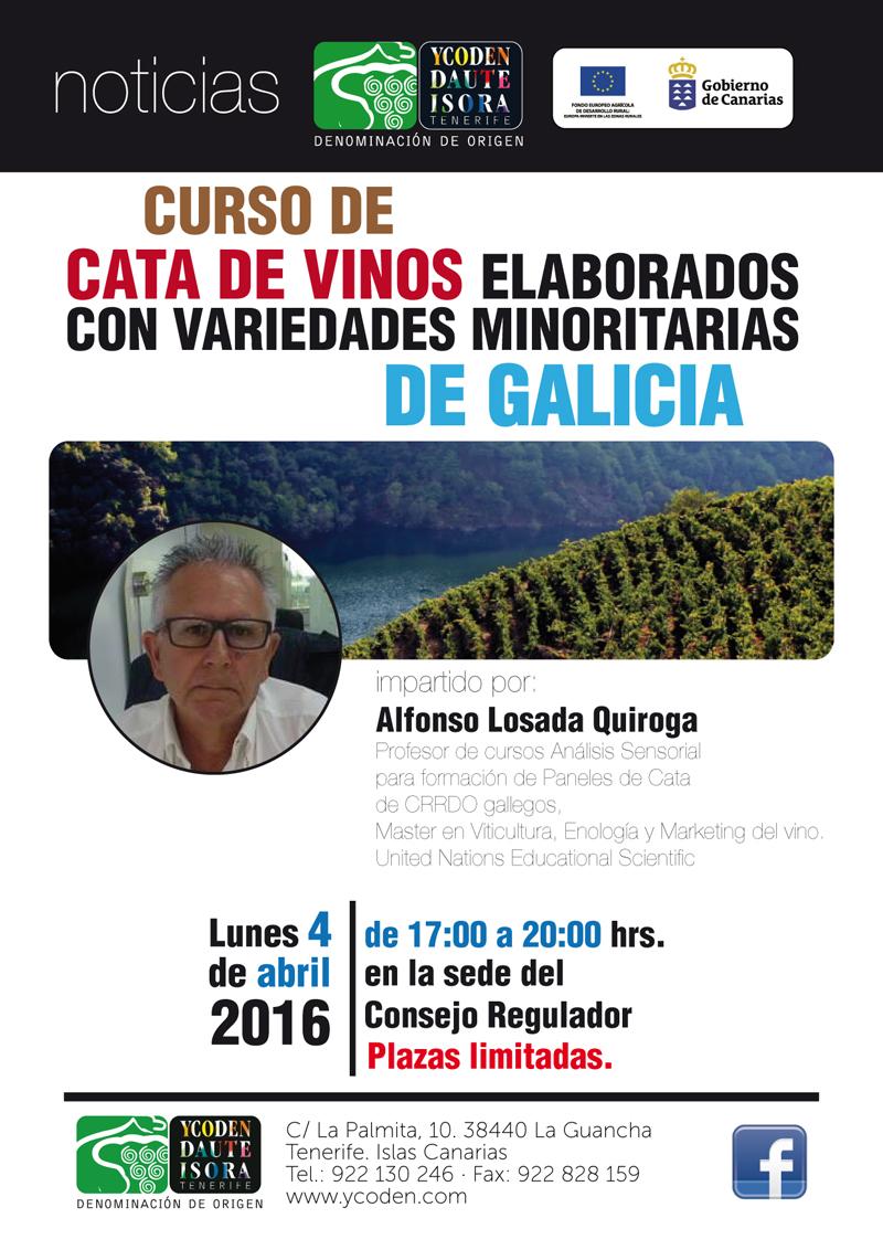 Curso de Cata de vinos elaborados con variedades minoritarias de Galicia, en la D.O Ycoden Daute Isora