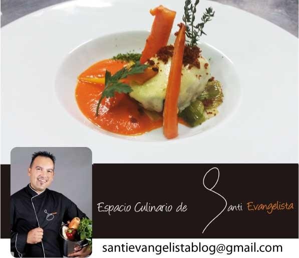 Receta de Santi Evangelista: BACALAO CONFITADO, CREMA DE PIQUILLOS Y BERBERECHOS