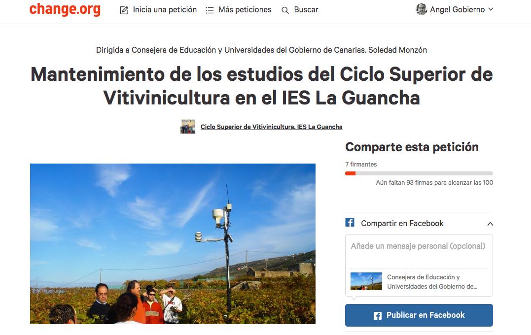 Apoya la formación de Vitivinicultura en el I.E.S, La Guancha