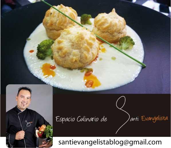 La receta de Santi Evangelista: PROFITEROLES DE CORVINA CON MOJO ROJO SOBRE CREMA DE COLIFLOR