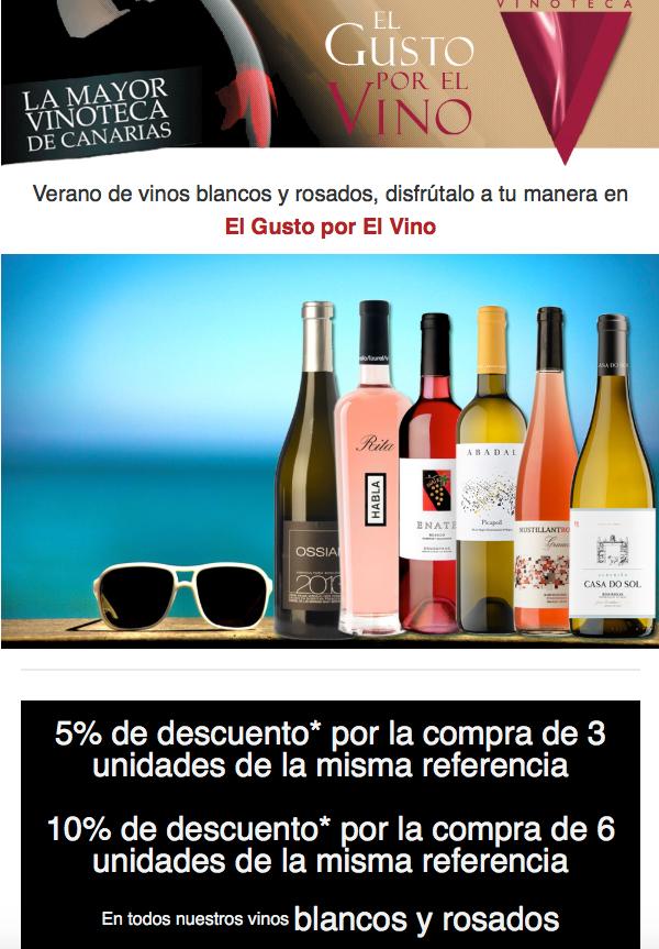 Últimos días de promoción de vinos blancos y rosados en la Vinoteca el Gusto por El Vino