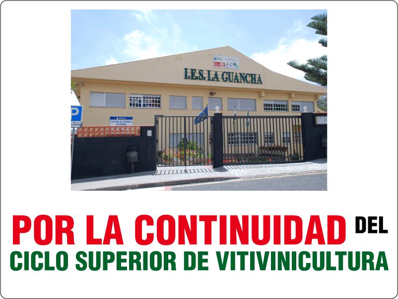 Concentración de protesta en defensa del ciclo superior de Vitivinicultura de La Guancha