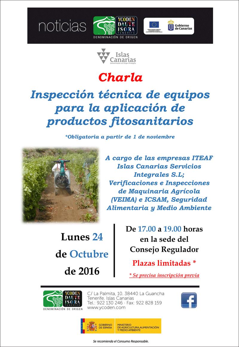 Inspección técnica de equipos para la aplicación de productos fitosanitarios. Charla en la sede de la D.O. Ycoden Daute Isora