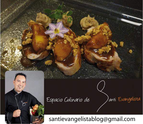 La receta de Santi Evangelista: Solomillo de cerdo con melocotones y puré de castañas