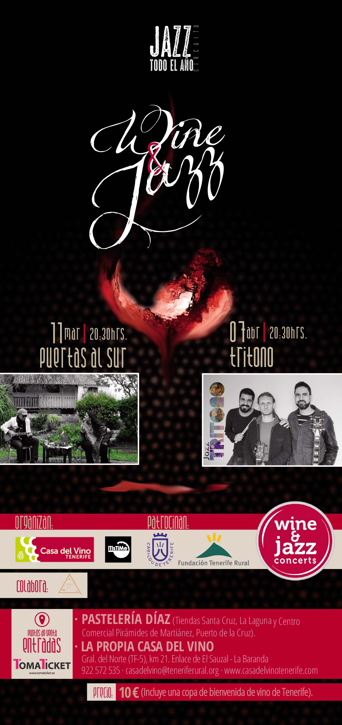 Wine&Jazz de la Casa del Vino de Tenerife y el grupo TRITONO