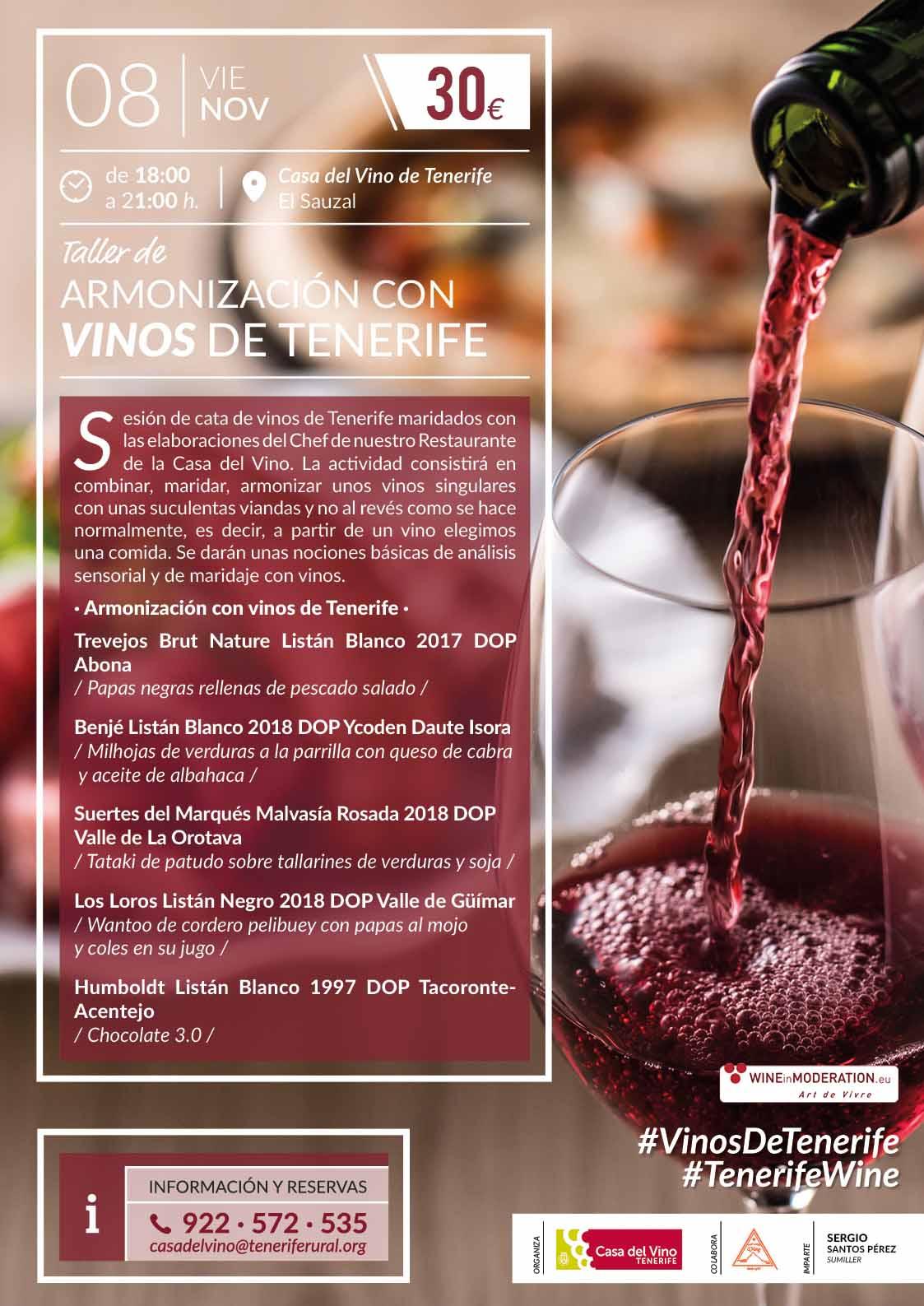 Taller de Armonización con Vinos de Tenerife, viernes 8 de noviembre de 2019. El vino escoge al plato