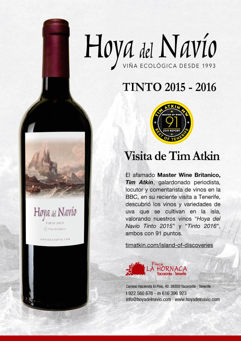 Hoya del Navio 2015 y 2016 han sido recocidos con 91 puntos por el Master of Wine Tim Atkin