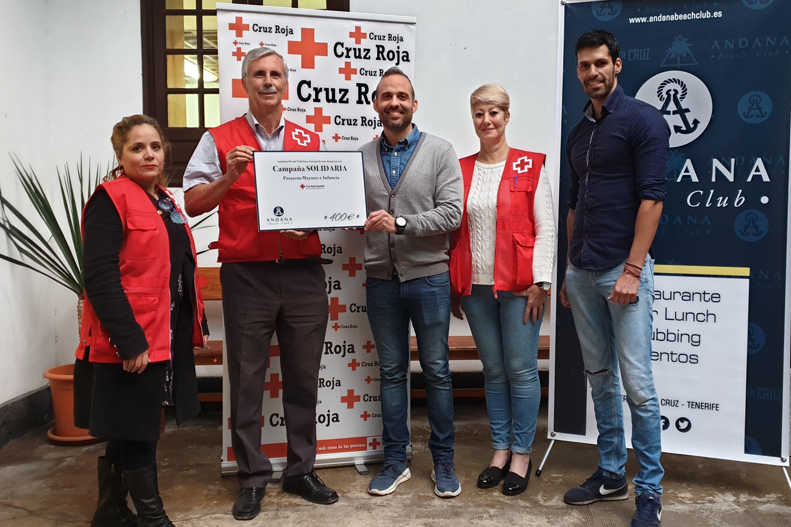 Andana Beach Club (Puerto de la Cruz), hace entrega a Cruz Roja de la recaudación de su campaña Andana Solidaria Navidades '19