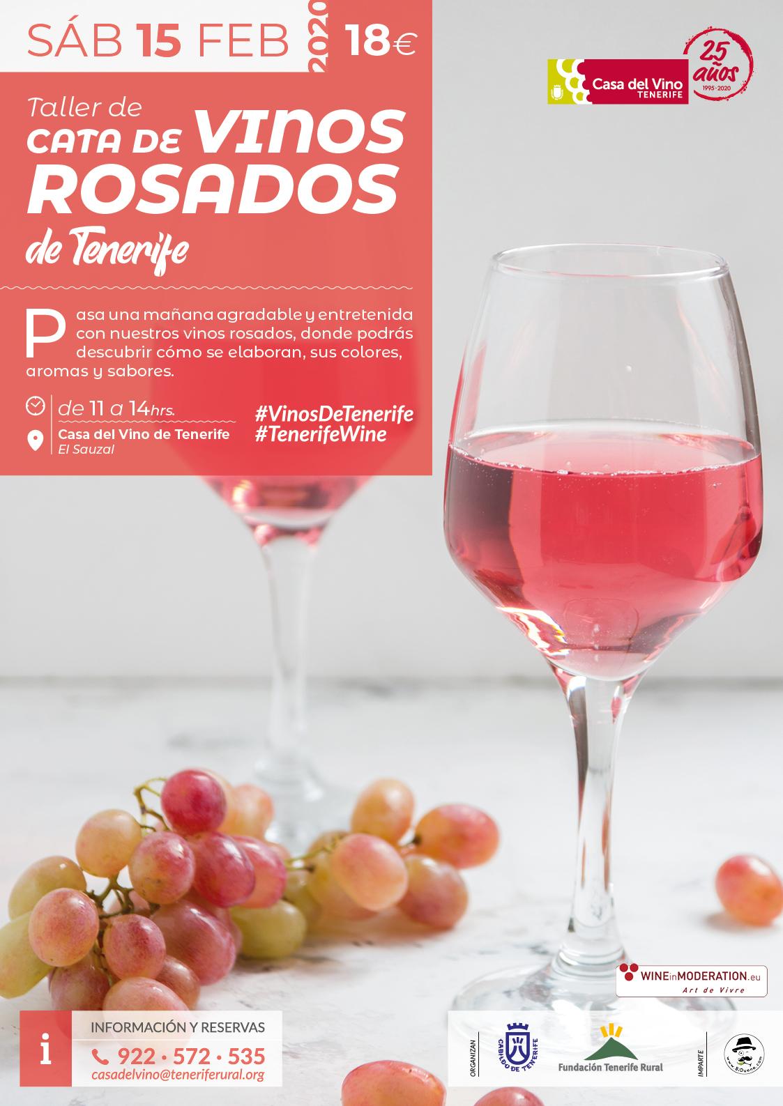 Taller de cata de vinos rosados de Tenerife, sábado 15 de febrero en la Casa del Vino Tenerife