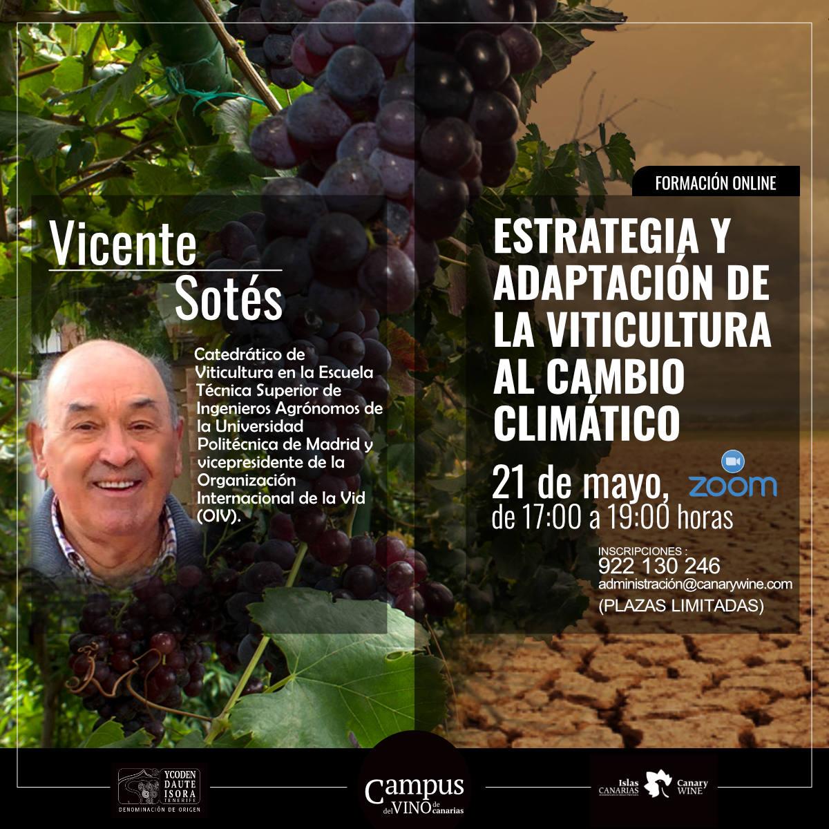 """Vicente Sotés impartirá el curso """"Estrategia y adaptación de la viticultura al cambio climático"""""""