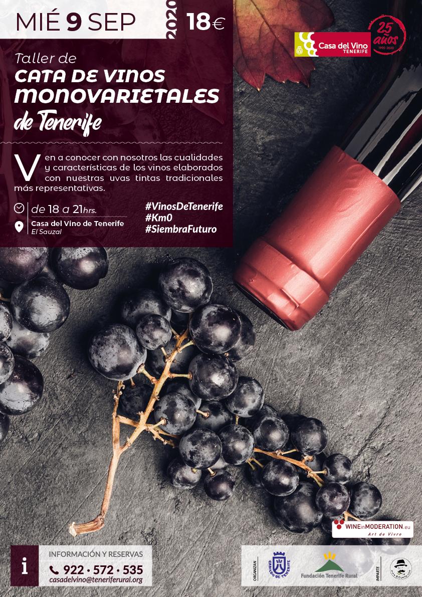 Taller de Cata de Vinos Monovarietales tintos de Tenerife, 9 de sep. de 2020