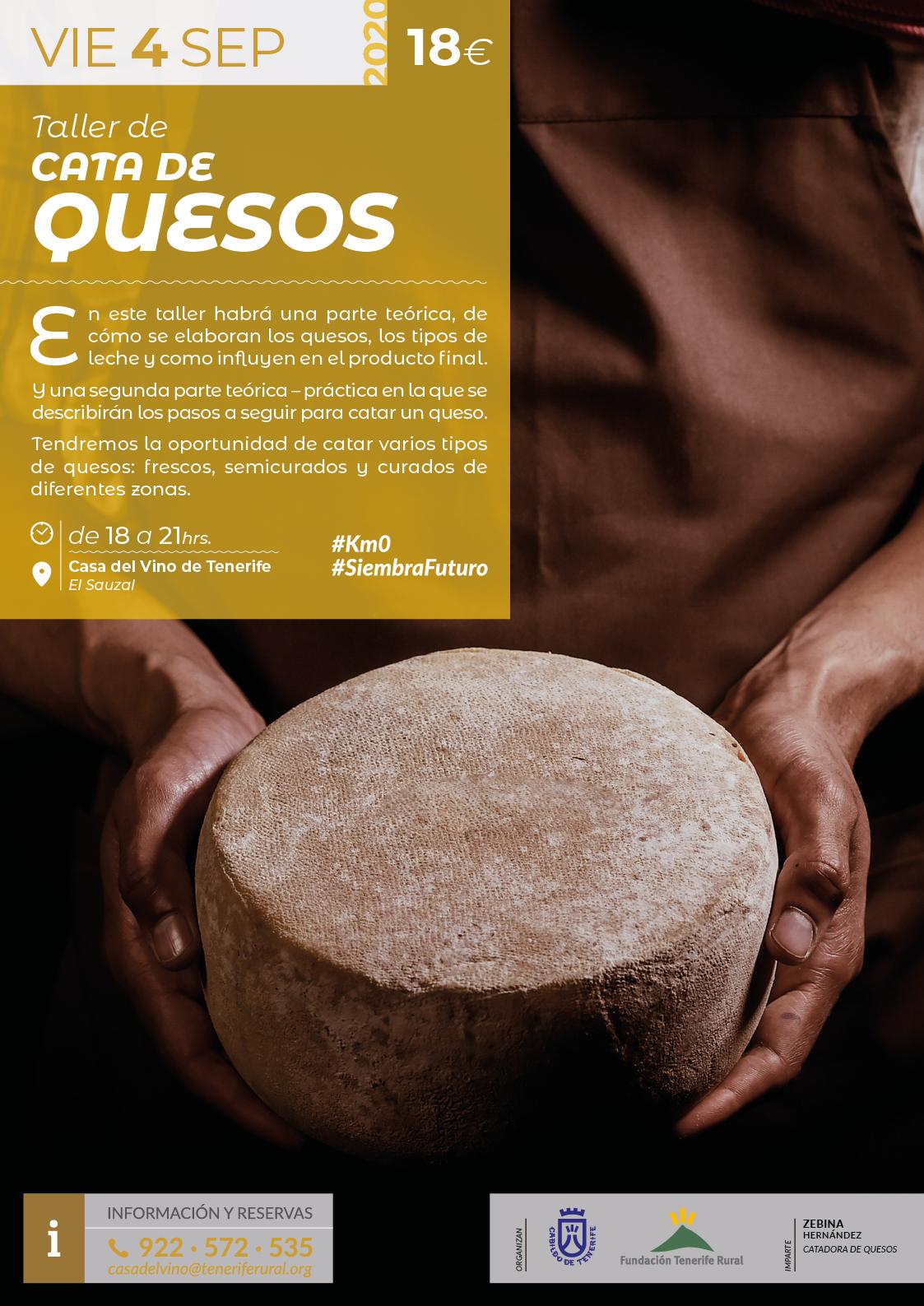 Taller de Cata de Quesos, impartido por Zebina Hernández, el próximo 4 de septiembre de 2020 en la Casa del Vino de Tenerife